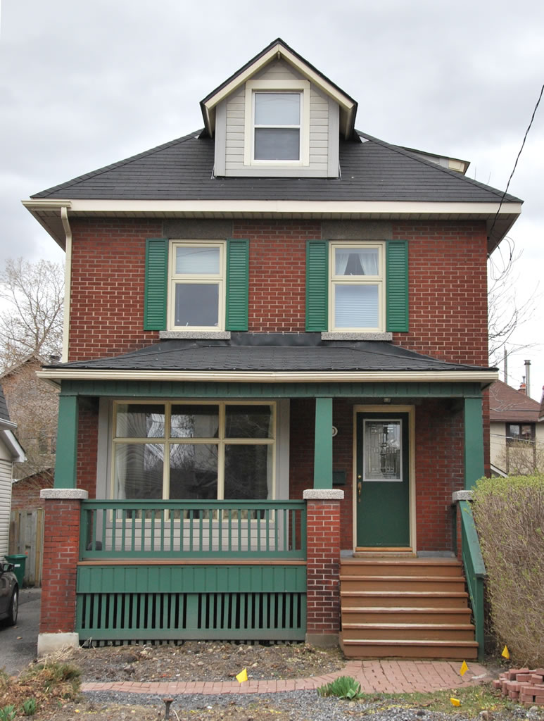Before photo prior to front porch rebuild on an Edwardian home, Ottawa.